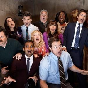 Nick Offerman, Aubrey Plaza, Aziz Ansari, Adam Scott, Amy Poehler, Jim O'Heir, Rashida Jones, Chris Pratt, Retta and Rob Lowe (from left)