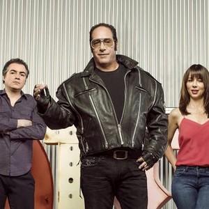 """Kevin Corrigan, Andrew """"Dice"""" Clay and Natasha Leggero (from left)"""
