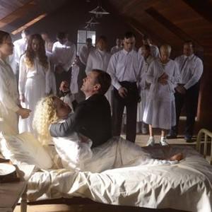 Orphan Black: Season 2, Episode 3, Helena (Tatiana Maslany), Gracie (Zoe de Grand Maison), Mark (Ari Millen), Bonnie (Kristen Booth) and Johanssen (Peter Outerbridge).