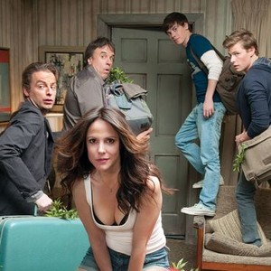 Justin Kirk, Kevin Nealon, Alexander Gould and Hunter Parrish (back row, from left); Mary-Louise Parker (front)
