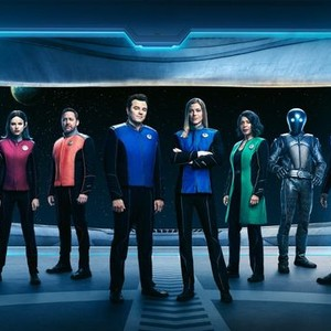J. Lee, Halston Sage, Scott Grimes, Seth MacFarlane, Adrianne Palicki, Penny Johnson Jerald, Mark Jackson and Peter Macon (from left)