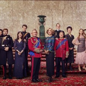 Harry Enfield as Prince Charles and Haydn Gwynne as Camilla with the cast.