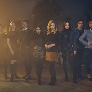 Hayley Erin, Kelly Rutherford, Graeme Thomas King, Janel Parrish, Sasha Pieterse, Sofia Carson, Eli Brown and Sydney Park (from left)