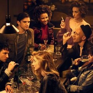 Tom Sturridge, Evan Jonigkeit, Caitlin FitzGerald, Jasmine Mathews, Eden Epstein, Daniyar, Ella Purnell (from left)