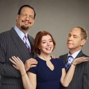Teller, Alyson Hannigan and Penn Jillette (from left)