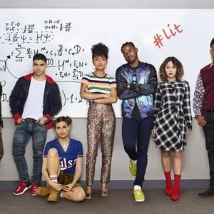 Chris Parnell, Jordan Buhat, Emily Arlook, Yara Shahidi, Trevor Jackson, Fancia Raisa, and Deon Cole (from left)