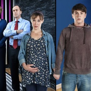 Anna Chancellor, Angus Deayton, Scarlett Alice Johnson, Sean Michael Verey and Ben Crompton (from left)