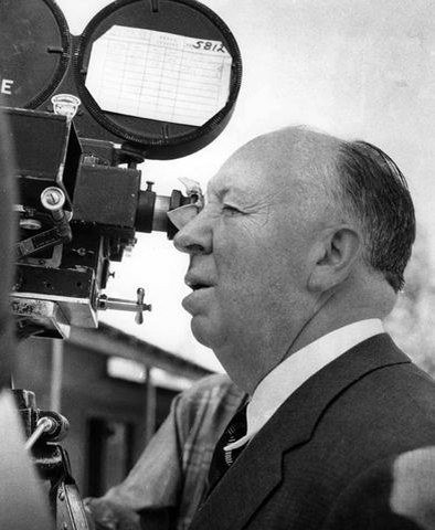 Hitch on the set of 'Psycho'
