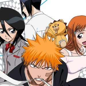 "Rukia Kuchiki, Uryu Ishida, Yasutora ""Chad"" Sado, Kon, Orihime Inoue and Ichigo Kurosaki (clockwise from left)"