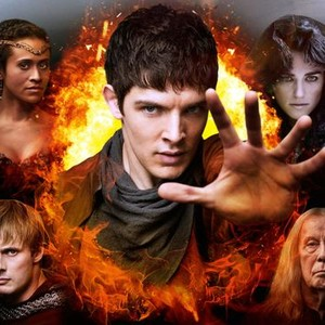 Angel Coulby, Colin Morgan, Katie McGrath, Richard Wilson and Bradley James (clockwise from top left)