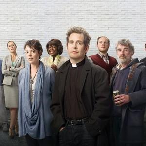 Jimmy Akingbola, Lucy Liemann, Olivia Colman, Ellen Thomas, Tom Hollander, Miles Jupp, Steve Evets and Simon McBurney (from left)
