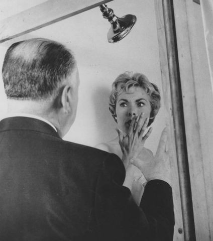 Hitch and Leigh on the set of 'Psycho'