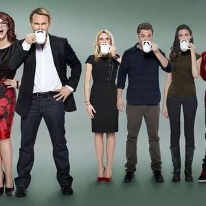 Megan Mullally, Christian Slater, Erin Richards, Bret Harrison, Odette Annable and Alphonso McAuley (from left)