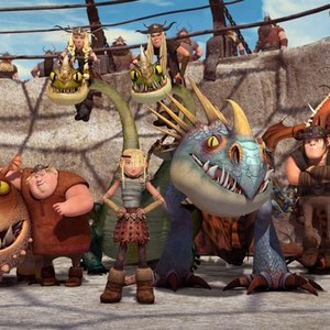 Meatlug, Fishlegs, Barf, Ruffnut, Astrid, Belch, Tuffnut, Stormfly, Snotlout and Hookfang (from left)
