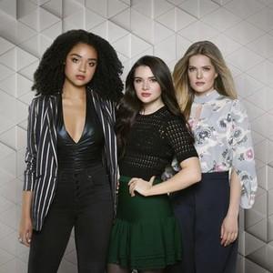 Aisha Dee, Katie Stevens, and Meghann Fahy (from left)
