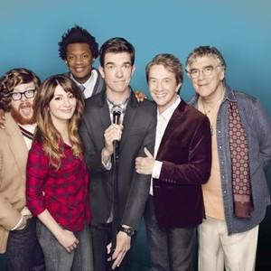 Mulaney (Season One): Zack Pearlman, Nasim Pedrad, Seaton Smith, John Mulaney, Martin Short and Elliott Gould