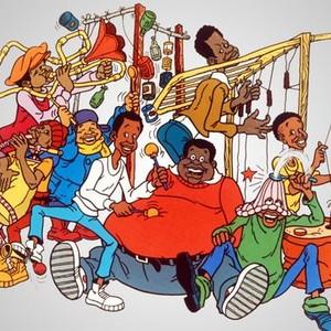 Rudy (left) and Weird Harold (top row); Mushmouth, Russell, Bill, Fat Albert, Dumb Donald and Bucky (bottom row)