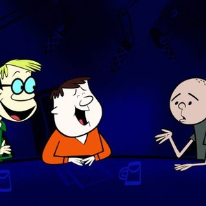 Stephen Merchant, Ricky Gervais and Karl Pilkington (from left)