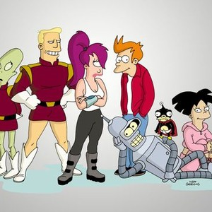 Kif, Zapp Brannigan, Leela, Fry, Bender (on ground), Nibbler and Amy (from left)