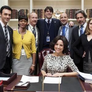 Julia Louis-Dreyfus (seated); Reid Scott, Sufe Bradshaw, Matt Walsh, Timothy Simons, Tony Hale, Gary Cole and Anna Chlumsky (standing, from left)