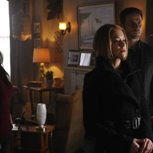 Orphan Black: Season 2, Episode 7, Mrs S (Maria Doyle Kennedy), Rachel (Tatiana Maslany) and Paul (Dylan Bruce)