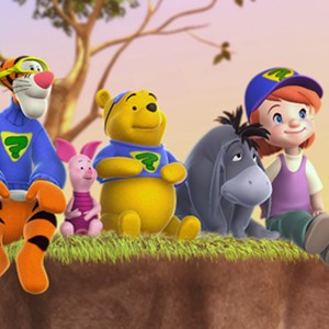 Tigger, Piglet, Pooh, Eeyore, Darby and Buster (from left)