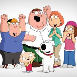 Chris Griffin, Stewie Griffin, Peter Griffin, Brian, Lois Griffin and Meg Griffin (from left)