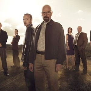 Jonathan Banks, Bob Odenkirk, Aaron Paul, Bryan Cranston, Betsy Brandt, Dean Norris and Anna Gunn (from left)